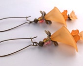 Orange Calla Lily Dangle Lucite Flower Earrings
