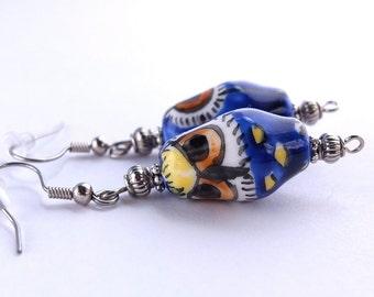 Ceramic Owl Earrings, Blue, Yellow, Orange, Black Ceramic Owl Earrings