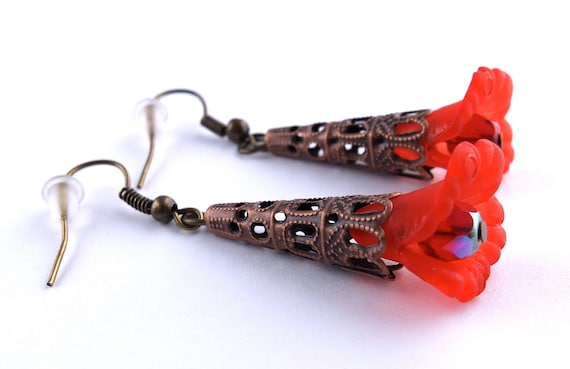 Red Flower Earrings, Ruby Red Lucite Ruffle Flower Earrings with Antique Bronze Findings