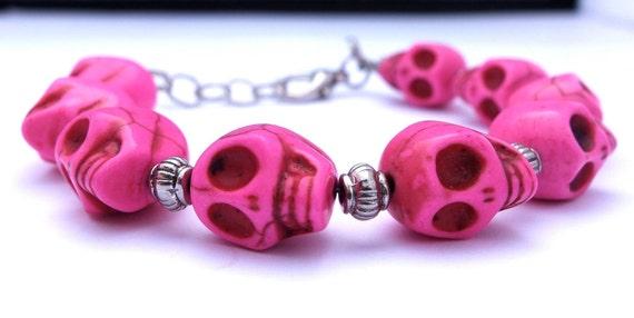 Pink Skull Bracelet, Hot Pink Mini Magnesite Skull Bracelet