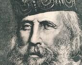 Giuseppe Garibaldi portrait - 1887 Vintage Illustration