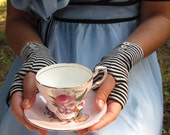 Alice in Wonderland Inspired Striped Gloves Tim Burton Style Size M