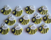 Bumble Bees Cupcake Toppers - Hand Made and Hand Painted - Edible Cupcake Decorations - READY TO SHIP