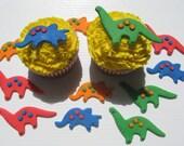 12 Edible Fondant Cupcake Toppers - Dinosaur Cupcake Decorations - Primary Colors - Stegosaurus, Brontosaurus -  READY TO SHIP