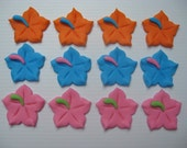 Hibiscus Cupcake Toppers - Orange, Blue and Pink - Hand Made Edible Fondant Cupcake Decorations - READY TO SHIP
