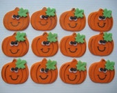 Halloween Cupcake Toppers - Happy Pumpkins - Fondant Cupcake Decorations - READY TO SHIP