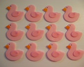 Duck Cupcake Toppers - Pink Duckies - Edible Fondant Cupcake Decorations - READY TO SHIP