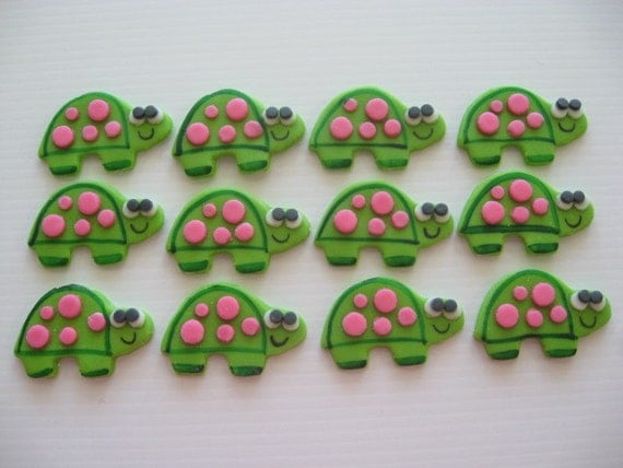 Turtle Cupcake Toppers - Edible Fondant Cupcake Decorations