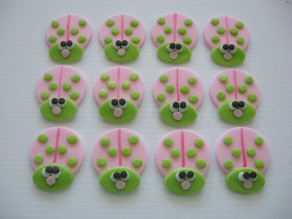 Pink ladybug cupcake toppers