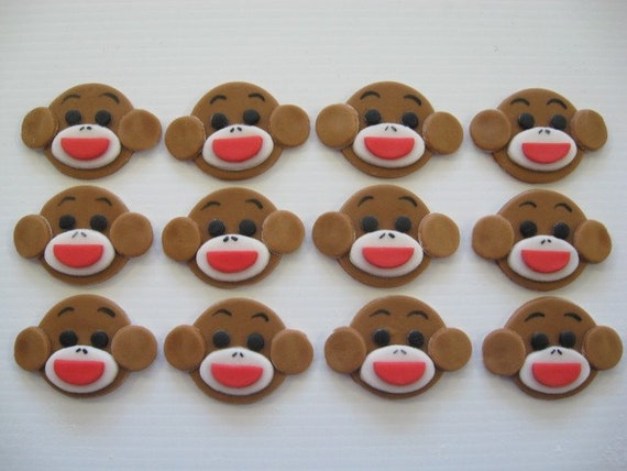 Sock Monkey Cupcake Decorations - Edible Fondant Birthday Cupcake Decorations - READY TO SHIP