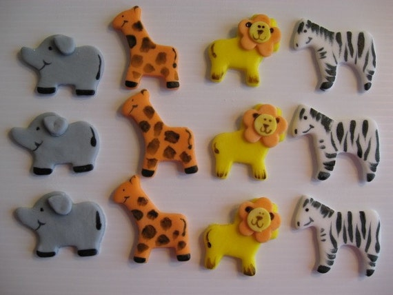 Safari Animal Cupcake Toppers - Lion, Zebra, Giraffe, Elephant - Zoo Circus Animal Cupcake Decorations - READY TO SHIP