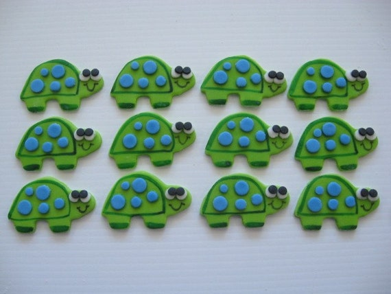 Turtle Cupcake Toppers - Boy Turtles with Blue Dots - Edible Fondant Cupcake Decorations - READY TO SHIP