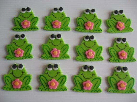 Frog Cupcake Toppers - Girl Frog with Flower - Edible Fondant Cupcake Decorations