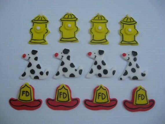 12 Edible Fondant Cupcake Toppers - Fireman Accessories Cupcake Toppers - Fire Hydrant, Fireman Hat, Dalmatian  - READY TO SHIP