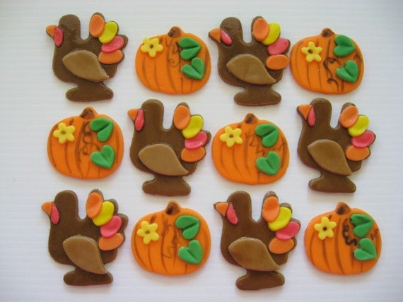 Fondant Cupcake Toppers Thanksgiving Turkey by ChristmasClay  Fondant Cupcake...