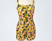 50's Rose Floral Bathing Suit Romper