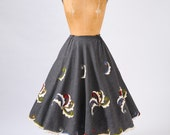 1950's Embroidered Circle Skirt - Folk Pinwheel Yarn Embroidery