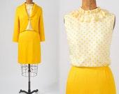 1960's Yellow Polkadot Dress Jacket Set  - Vintage Lemon Zest MOD