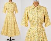 Vintage Yellow Daisy Shirtdress