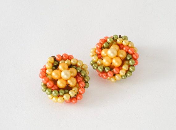 Avocado Citrus Pearl Cluster Earrings