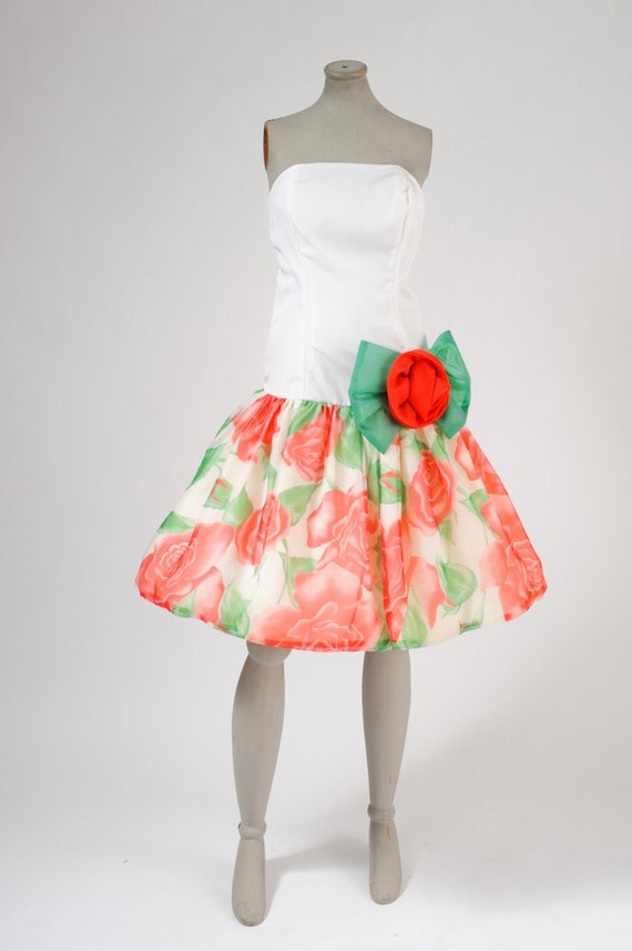 1980's Vintage Rose Prom Dress - Disco Rose Party Dance Dress - NOS
