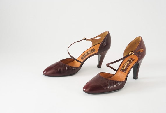 80s Vintage Oxblood Leather Strappy High Heel Shoes Deadstock