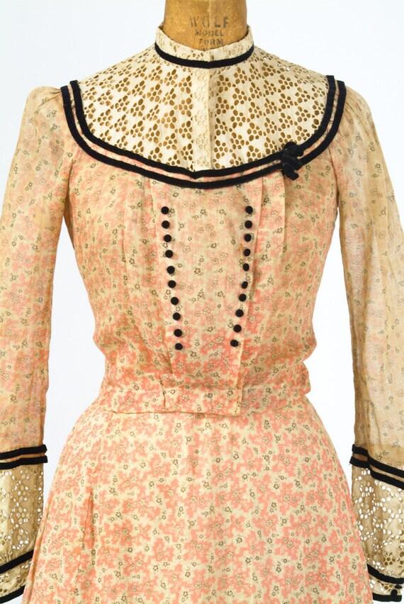 Antique 1890's Dress - Coral Feedsack Cotton Print 19th Century Dress with Black Velvet Trim