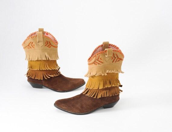Fiorucci Fringe Suede Boots Italian Western Fashion Rockabilly Deadstock