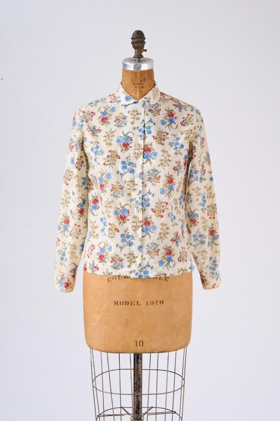 1960's Vintage Floral Blouse Cotton Back to School Preppy