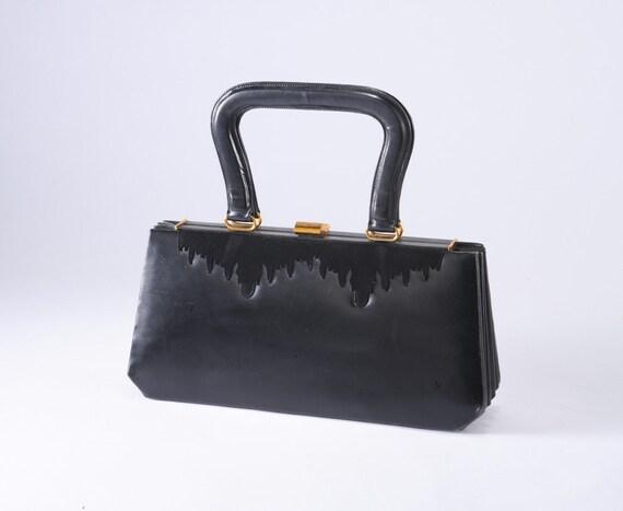 Vintage Black Leather Handbag - Black Suede Frost Trim & Scarlet Lined Accordion
