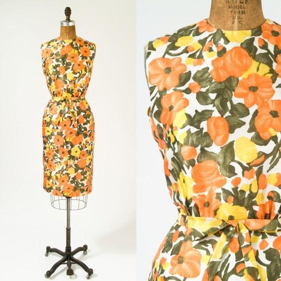 1960s Dress Poppy Print Silk Wiggle