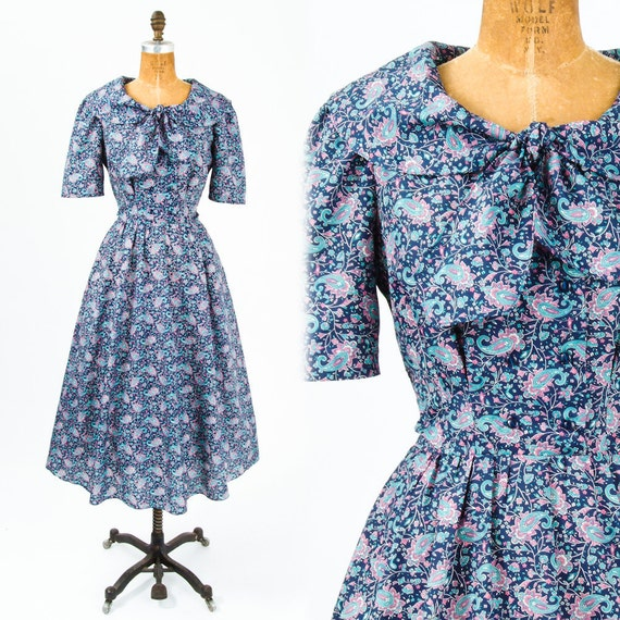 1980's Blue Paisley Midi Dress