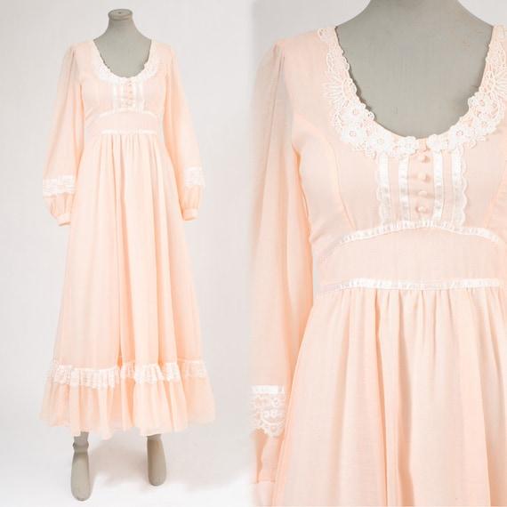 1970's Pale Coral Prairie Maxi Dress - Pink Ribbons & Lace Cotton Organza Gown - Hippie Boho Bridal