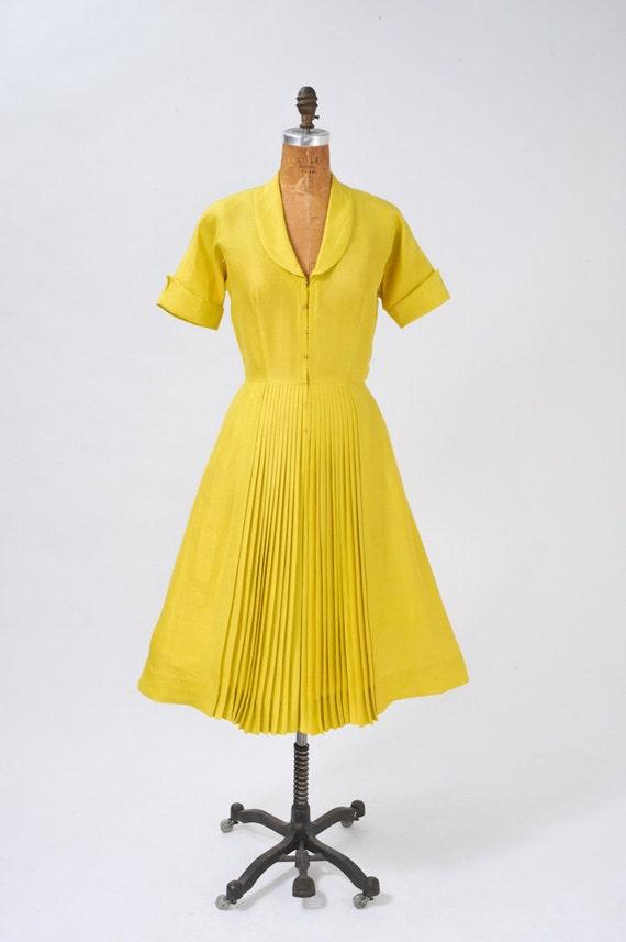 1950's Silk Chartreuse Dress