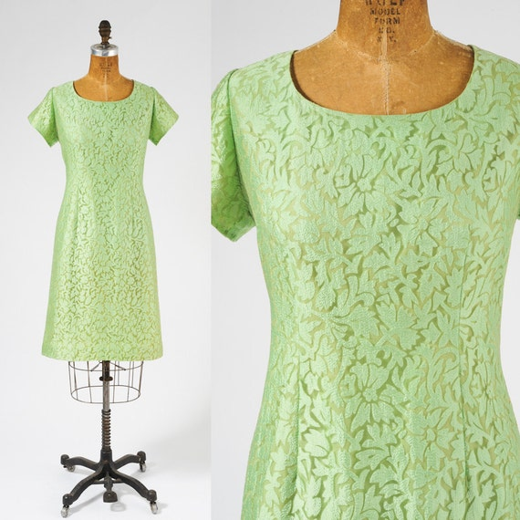 1960s Green Burnout Silk Dress - Vintage Sheer Leaf Green Silk