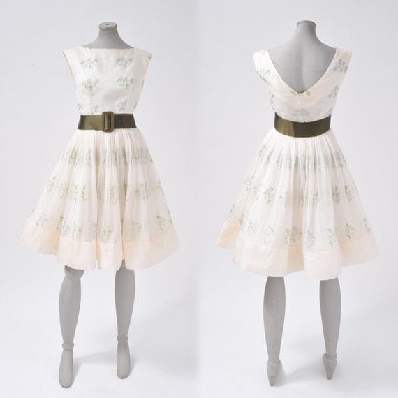 1950's White Fairy Dress - Floral Embroidered Silk Organza