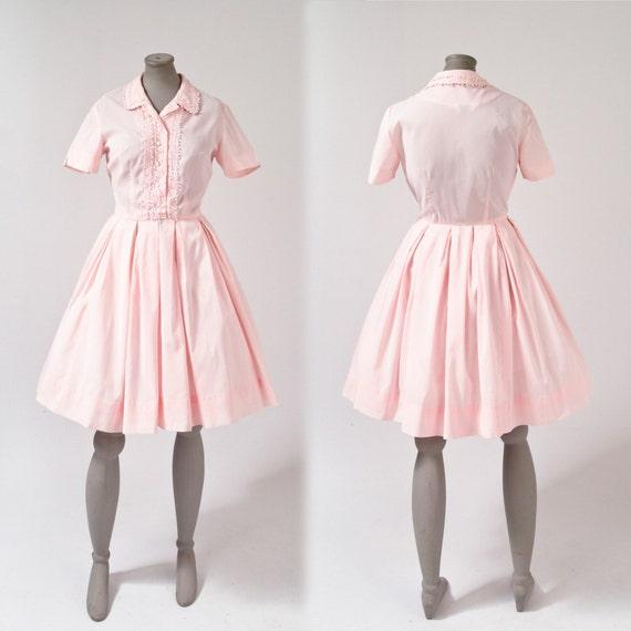 1950's Pink Shirt Dress - Rockabilly Pastel