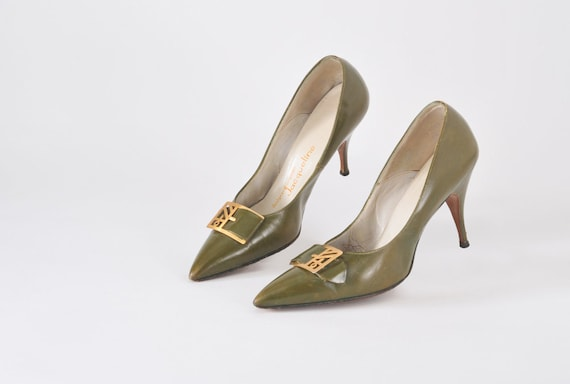 60's Avocado Stilettos - Mad Men Green Leather Heels With Asian Modern Brass Buckles