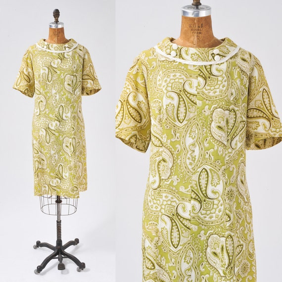60's Chartreuse Paisley Dress