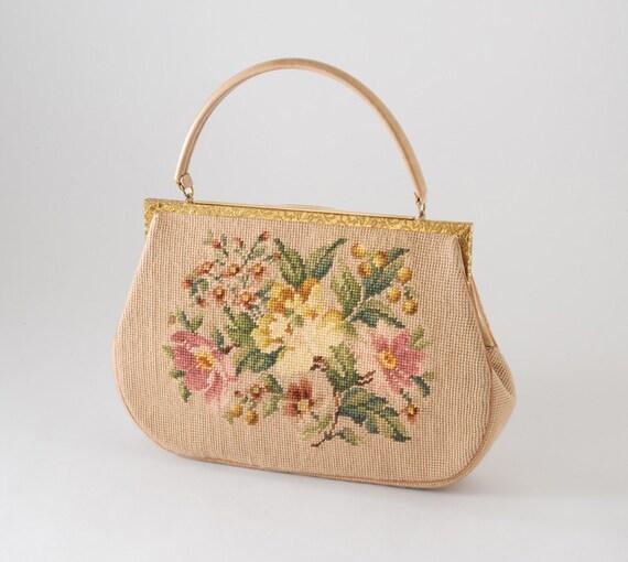 Vintage Needlepoint Tapestry Handbag - Latte Mauve Rose Floral