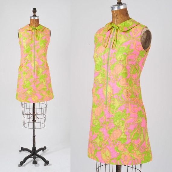 1960's Day Glo Mini Dress - Psychedelic Floral Sherbet Pink Chartreuse Dress