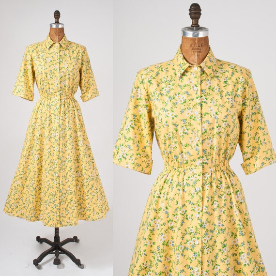 Vintage Yellow Daisy Shirtdress