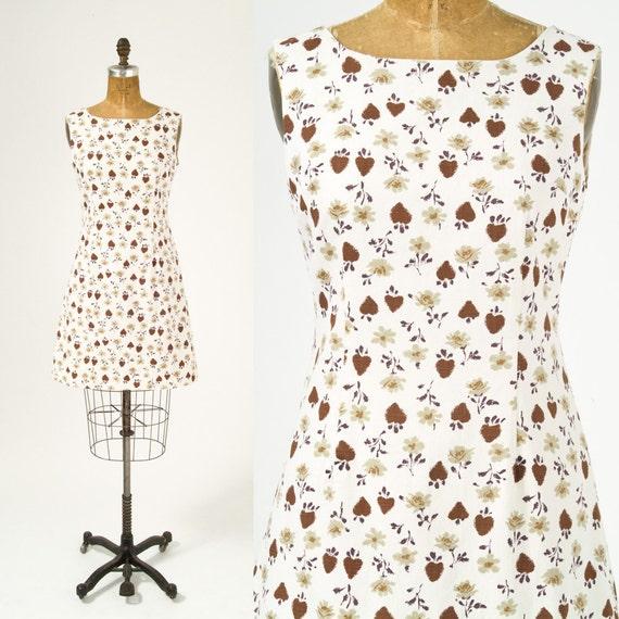 1960's Acorn Print Cotton Dress