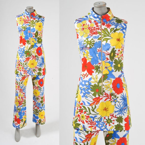 1960's Mod Flower Power Pants Suit Pants & Tunic Set