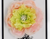Stunning Pink and Lime Green Fluffy Ranunculus Silk Flower Hair clip with multi Swarovski Crystal Center the perfect portrait accessory