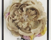 Gorgeous Grey with a Hint of Green Rosette Silk Flower  Women and Girl's Alligator Hair Clip with multi Swarovski Crystal Center