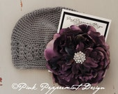 Silver Grey Crocheted Beanie with XL Purple Peony and Multi Crystal Center fits toddler-women