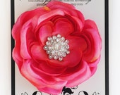Hot Pink Rosette Women and Girl's Silk Flower Hair Clip with Multi Swarovski Crystal Perfect for Weddings and Bridal Parties