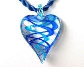 Glass heart necklace, cobalt blue, aqua blue swirl, you choose cord color