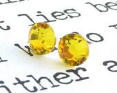 Citrine yellow Swarovski stud earrings, 7mm crystal